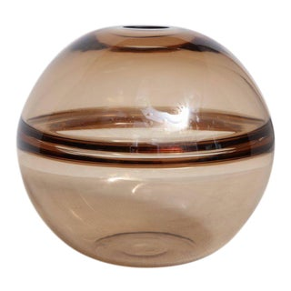 Signed Crepax Vase in Tobacco Color Murano Glass For Sale