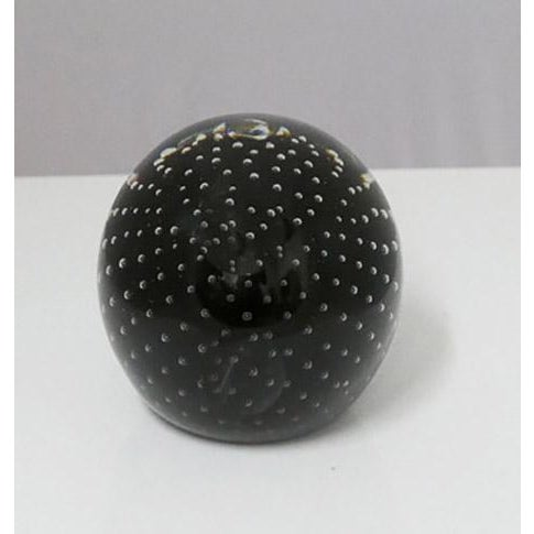 Beautiful, highly decorative glass sphere created in the style of Midcentury Murano glass. The bottom of the piece is flat...