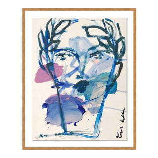 Roman Face by Leslie Weaver in White Framed Paper, XS Art Print For Sale
