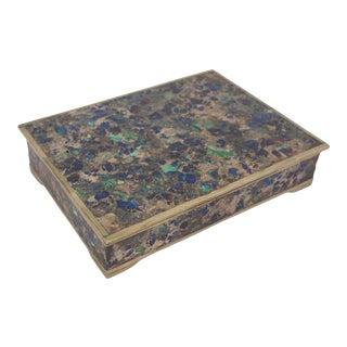 Mid Century Inlaid Stone Box For Sale