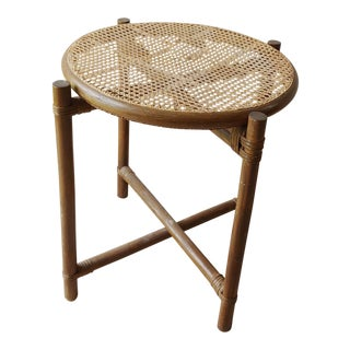 1950s Boho Chic Folding Rattan and Cane Tray Table For Sale