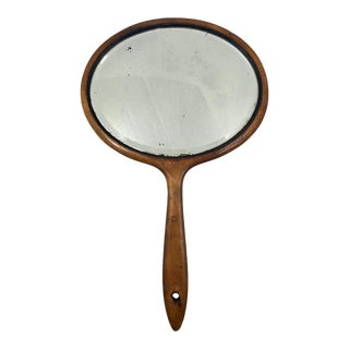 Oval Antique Wood Framed Bevelled Glass Hanging Hand Mirror For Sale