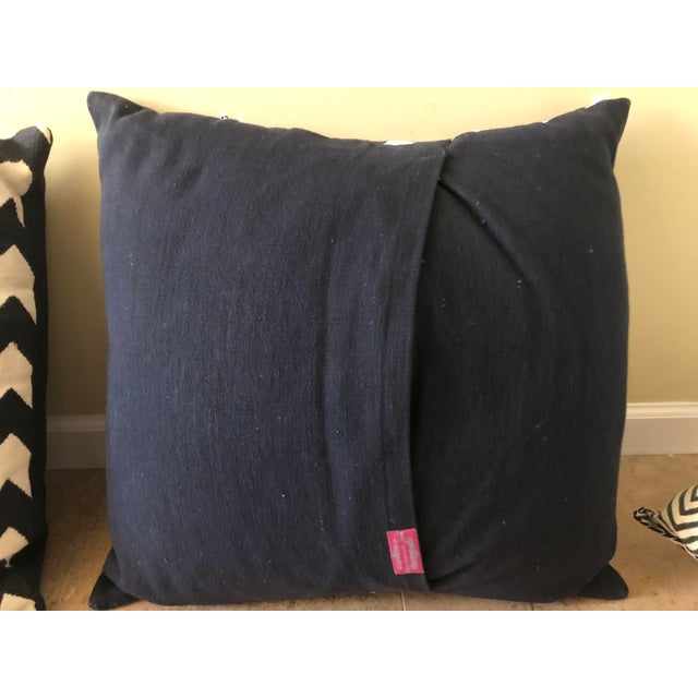 Contemporary Madeline Weinrib Black Chevron Block Print Pillows - A Pair For Sale - Image 3 of 10