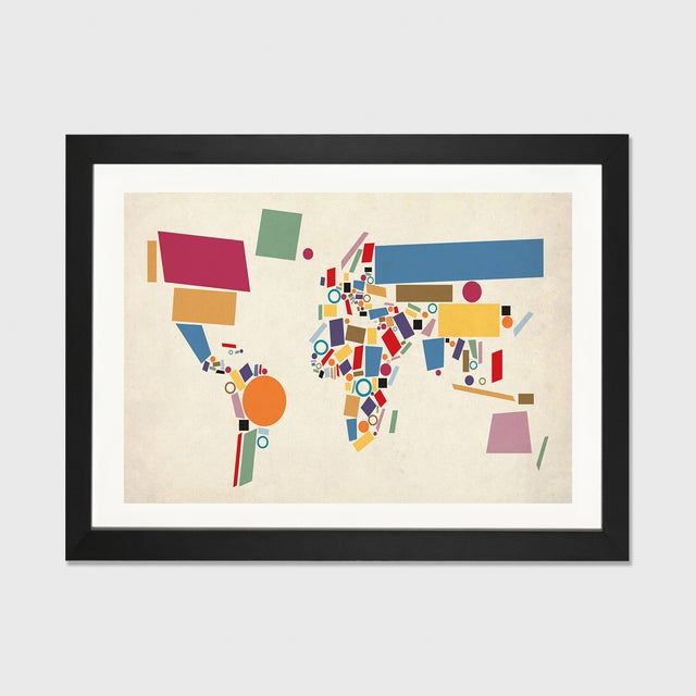 Abstract Geometric World Map by Michael Tompsett - Image 2 of 3