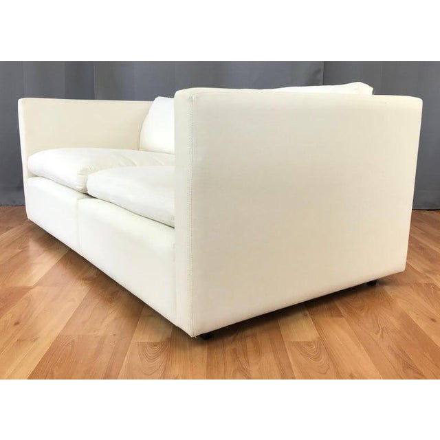 Contemporary Charles Pfister for Knoll Settee in Off-White Canvas For Sale - Image 3 of 13
