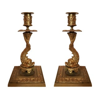 Late 19th Century Baroque Bronze Candlestick Pair With Dolphin Base For Sale