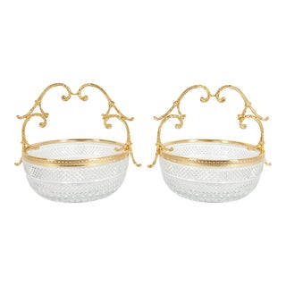 Early 20th Century Cut Crystal / Gilt Bronze Handle Bowls / Pieces - A Pair For Sale