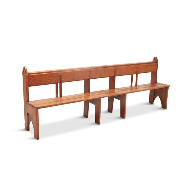 Mid-Century Modern Solid Oak Bench Wabi Sabi Style For Sale - Image 9 of 9