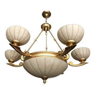 Alabaster & Gold Chandelier