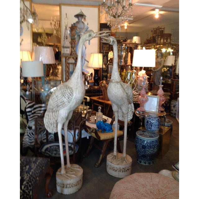 Anglo-Indian Grandly Scaled Pair of Vintage Carved Cranes For Sale - Image 3 of 14