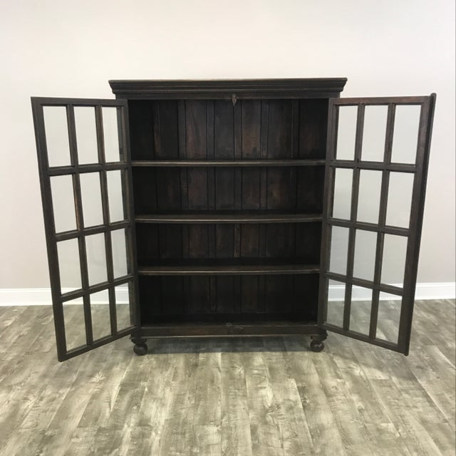 Crate & Barrel Wood Glass Door Wall Unit For Sale - Image 5 of 9