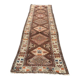 """Large Vintage Hand Knotted Wool Runner Rug- 3'2""""x10'4"""" For Sale"""