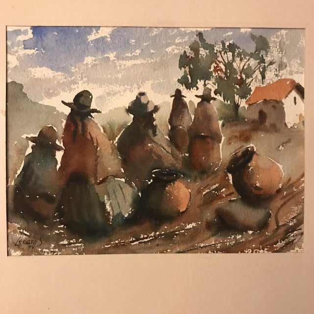 Impressionism Vintage Peruvian Watercolor Painting For Sale - Image 3 of 8