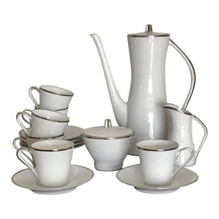 1960's Vintage Original Mid Century Modern White and Platinum Espresso Set by Edelstein Germany - Service for 6 For Sale