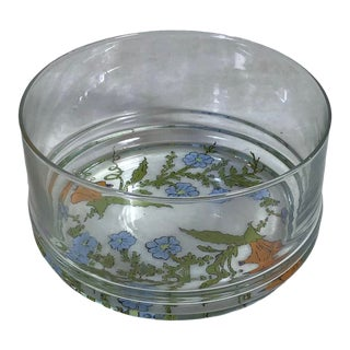 Vintage 1970s Dorothy Thorpe Small Glass Wildflower Pattern Serving Bowl For Sale