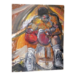 """1990s Andrew Turner """"Between Rounds"""" Original Oil Painting For Sale"""
