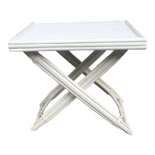 20th Century Chinoiserie White Bamboo Folding Tray Table For Sale