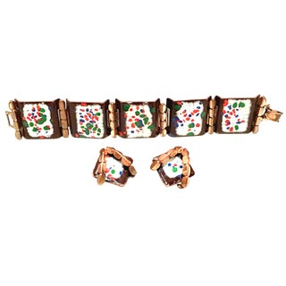 1950's Vintage Renoir-Matisse Copper & Enamel Link Bracelet & Earrings - Set of 3 For Sale