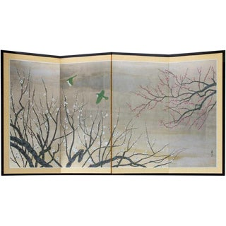 Chinese Painted Silk Cherry Blossom Screen