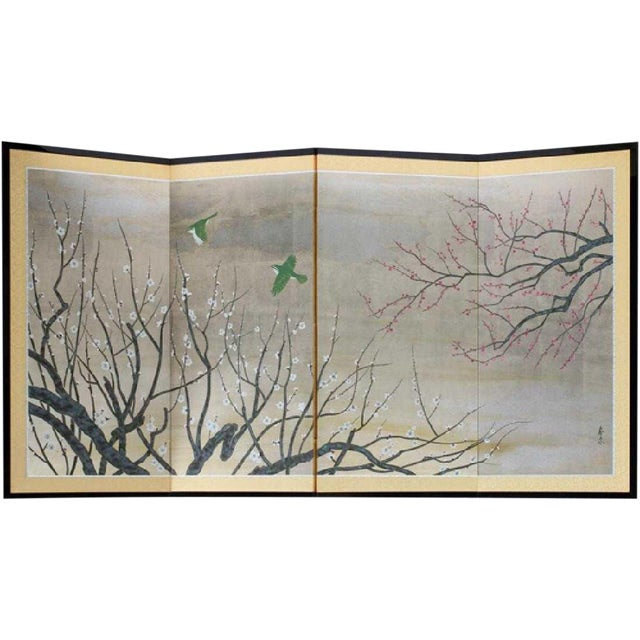 Chinese Painted Silk Cherry Blossom Screen For Sale
