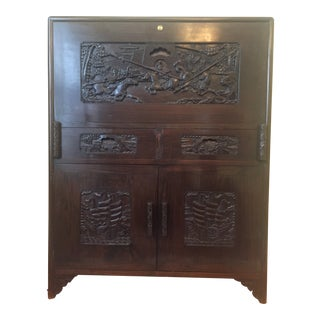20th Century Chinese Carved Solid Hardwood Bar Cabinet For Sale