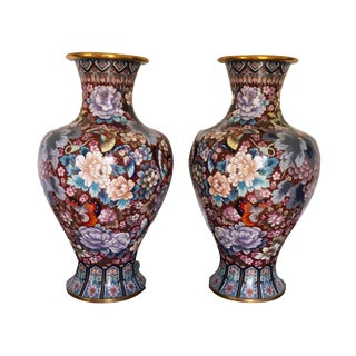 Early 20th Century Mid Century Enamel Mirrored Vases Chinese Cloisonne Vase Gilded Bronze - a Pair For Sale