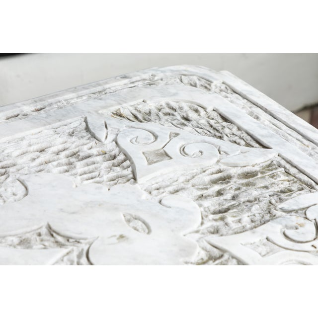 19th Century Castel Franco Hand Chiseled Marble Table with Iron Base For Sale - Image 10 of 12