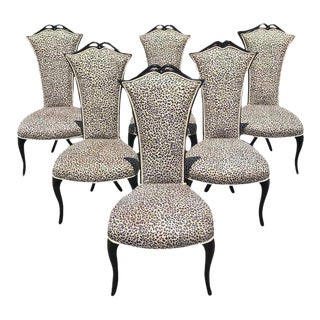French Mid-Century Modern Ebonized Tall Back Dining Chairs - Set of 6 For Sale