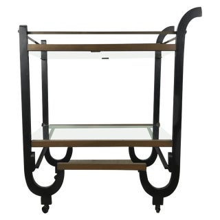 Stunning Art Deco Brass and Black Lacquer Donald Deskey Bar or Tea Cart For Sale