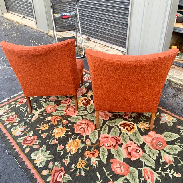 Hollywood Regency Vintage Mid Century Tweed Lounge Chairs- a Pair For Sale - Image 3 of 6