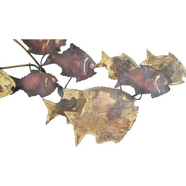 Metal Wall Art Sculpture - 16 Swimming Fish - Image 4 of 4