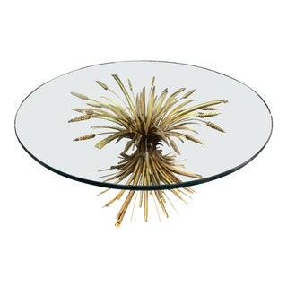 French Midcentury Jansen Style Gilt Metal Wheat Form Coffee Table For Sale