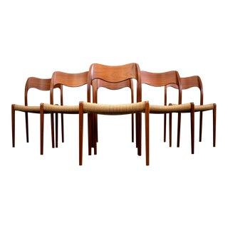 Set/6 Model 71 J. L. Møller Danish Teak Dining Chairs For Sale