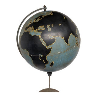 1940s Wwii Military Aviation Teaching Chalk Globe on Tall Stand by Denoyer Geppert For Sale