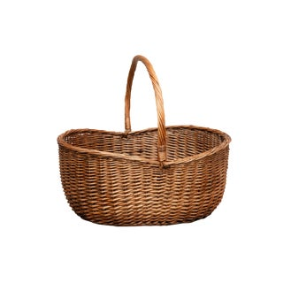 Large French Wicker Shopping Basket For Sale