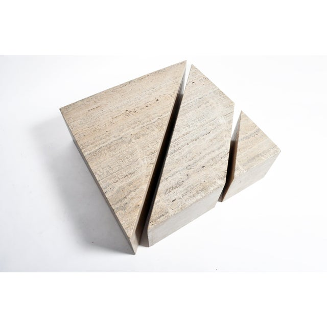 Italian Travertine Marble Three-Part Polygon Coffee Table For Sale - Image 11 of 13