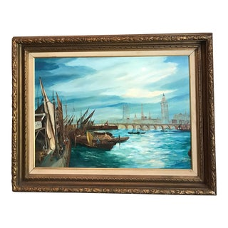 Large Vintage Nautical Oil on Canvas, Boats in the Harbor in France, Signed For Sale
