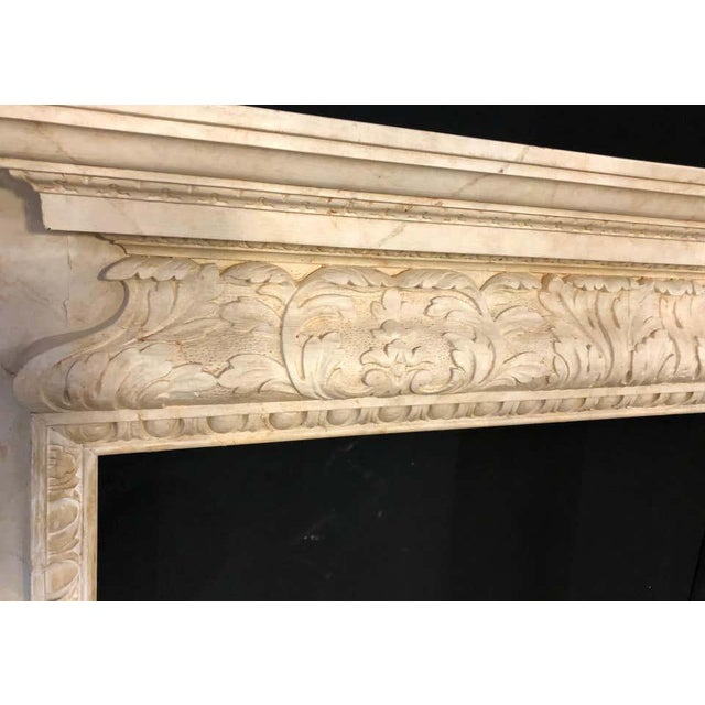 Swedish Painted and Distressed Decorated Fire Surround in Faux Marble Finish For Sale In New York - Image 6 of 13