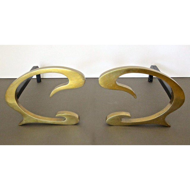 French 1930s French Deco C-Scroll Brass Andirons - a Pair For Sale - Image 3 of 13