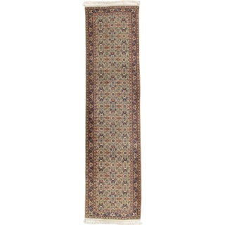 "Vintage Persian Indian Hand Woven Runner 2'9"" X 10'11"" For Sale"