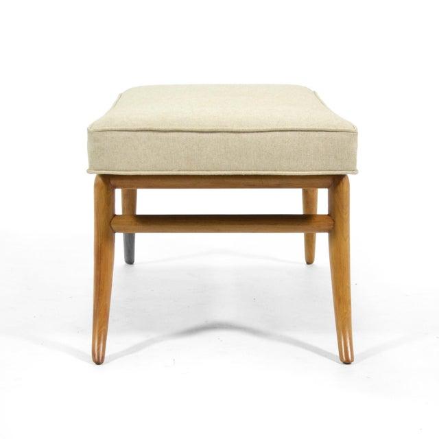 Textile t.h. Robsjohn-Gibbings Saber Leg Bench by Widdicomb For Sale - Image 7 of 9