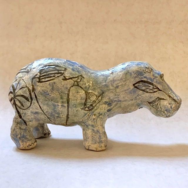 "Vintage Mid-Century ""William the Faience Hippopotamus"" Figurine For Sale - Image 4 of 13"