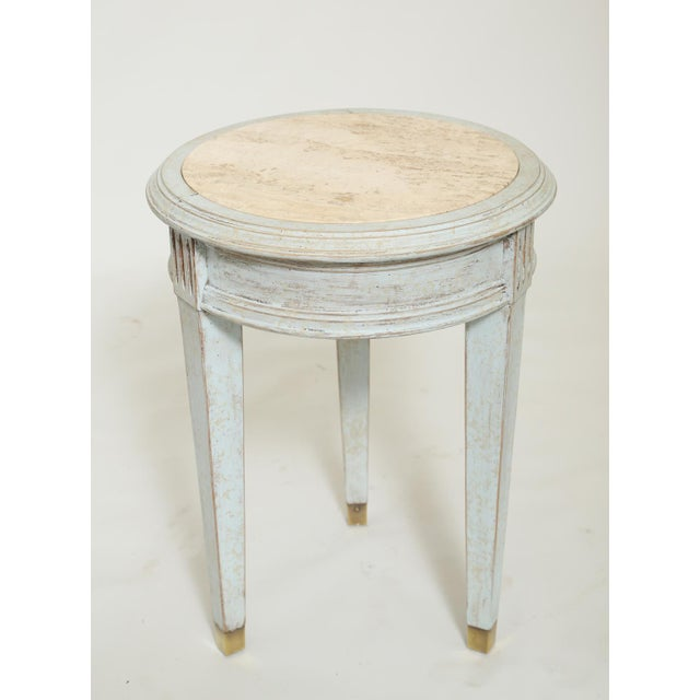 1960s Accent Table With Travertine Insert For Sale - Image 5 of 8
