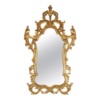 Gold Gilt Rococo Style Carved Wood Mirror, Made in Spain For Sale