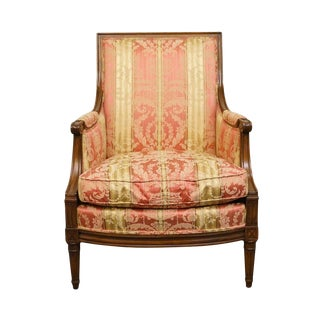 20th Century Louis XVI Henredon Furniture Upholstered Accent Arm Chair For Sale