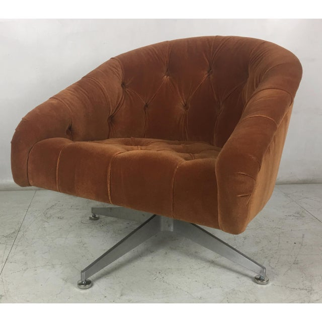 Pair of modern swivel chairs by Ward Bennett for Lehigh Leopold. The chairs have been painstakingly restored from the...
