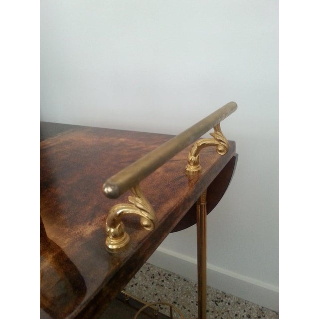 Brown Mid-Century Modern Bar Cart in Lacquered Goatskin and Gold Plate by Aldo Tura For Sale - Image 8 of 13