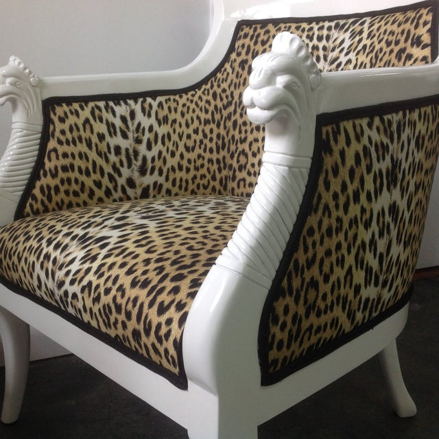 Leopard Print Italian Chairs - A Pair For Sale - Image 5 of 8