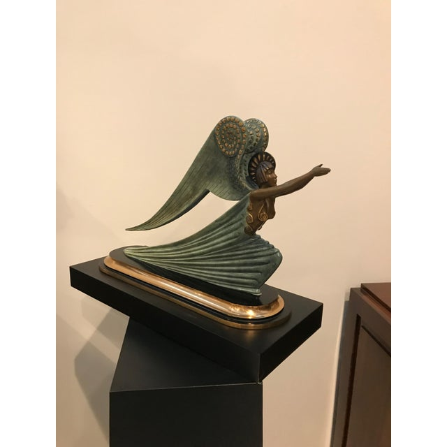 "Art Deco 1984 Erte Ltd Ed ""Angel"" Bronze Sculpture by Romain De Tirtoff For Sale - Image 3 of 13"