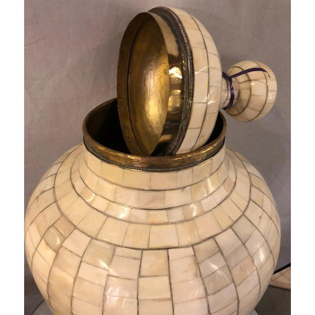 Metal Beautiful Antique Natural Bone Over Brass Urn For Sale - Image 7 of 12